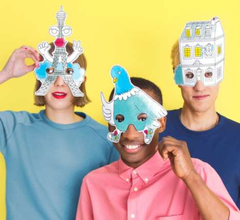 Quirky Color-In Masks - OMY's Fun Paper Face Masks Boast Unique Forms to Be Colored
