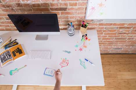 Whiteboard Desk Tops - Evodesk's Whiteboard DeskShield Lets Creatives Brainstorm Without Getting Up