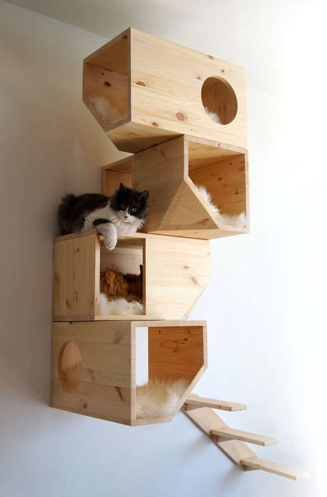 Modular Cat Shelving - CatissaCatTrees' Stackable Pet Furniture Fuses Aesthetics and Function