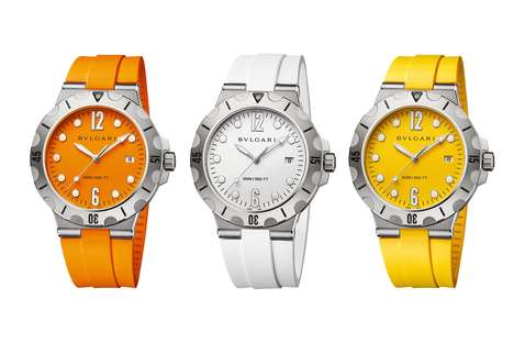 High-End Beach Timepieces - The Bulgari Diagono Scuba Dive Watches are for Fashionable Beachgoers