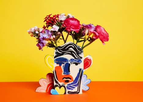 Abstract Portrait Vases - 'The Tributes Collection' Features Abstract Illustrations