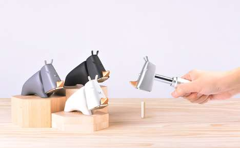 Metallic Desk Toy Tools - The iThinking Rhino Hammer Tool Keeps Equipment Stylishly on a Desk