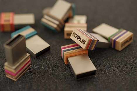 Upcycled Skateboard USB Drives - These Handmade USB Thumb Drives from 7plis are One-of-a-Kind