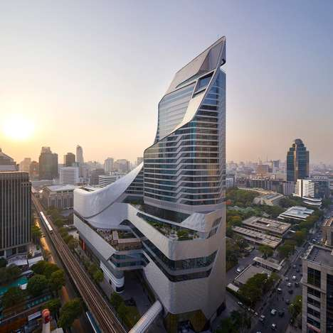 Sharp Aluminum-Plated Buildings - 'Central Embassy' is a Luxurious Building in Bangkok, Thailand