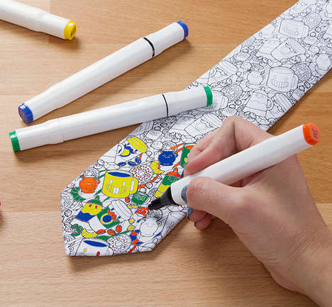 Art-Friendly Neckties - The Coloring Book Tie Encourages You to Color All Over It