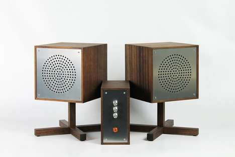 Simplified Modern Speaker Systems - The Astrovox HiFi Audio System is Crafted Using African Mahogany