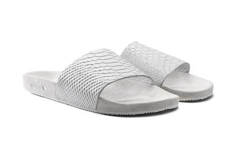 Animal Skin-Accessorized Sandals - The mi adilette Slides from Adidas Feature Exotic Skins and Furs