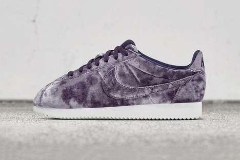 Feminine Tie-Dyed Sneakers - These Cortez Classic LX Velvets from Nike Come in Two Colorways