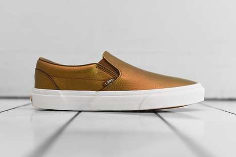 Bronze Slip-On Sneakers - These New Vans Slip-Ons are a Luxurious Metallic Bronze
