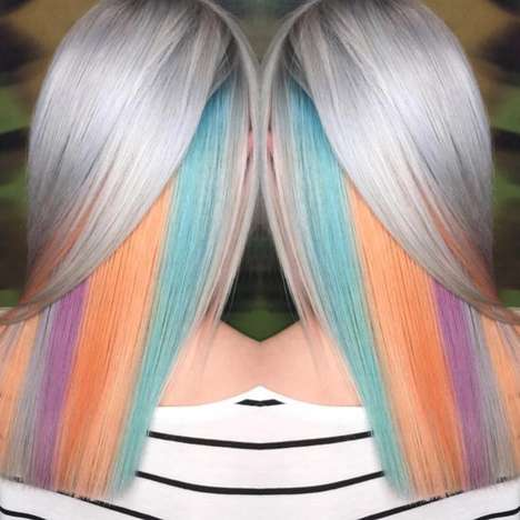 Peek-a-Boo Highlighter Hair - Scotland's #BLOW Salon Reveals Bold Streaks of Hidden Hair Color