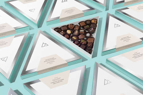 Re-Branded Chocolate Packaging - Rocky Mountain Chocolate's Triangular Boxes are Visually Bold