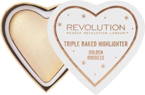 Affordable Heart-Shaped Highlighters - Makeup Revolution's Highlighter Features Three Blended Shades