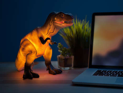 Cretaceous Period Desk Lamps - The T-Rex Light is Designed to Look Like a Child's Dinosaur Toy