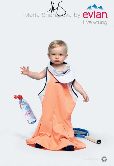Baby-Inspired Branding - The Evian Oversize Campaign Features Babies in Over-Sized Clothing