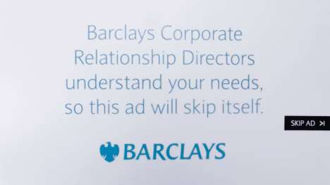 Self-Destructing Pre-Roll Ads - Barclays' 'Self-Skippable Pre-Roll Ad' Gets Itself Out of the Way