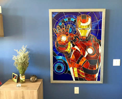 Stained Glass Superhero Art