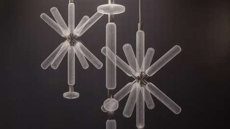 Hand-Blown Crystal Light Fixtures - Yabu Pushelberg's Cipher Collection Features Etched Lines