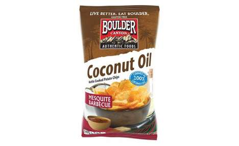 Coconut Oil Snack Chips - The Boulder Canyon Mesquite Barbecue Coconut Oil Chips Have Low Fat