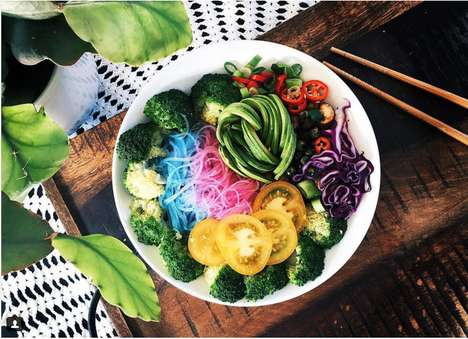 Rainbow Noodle Bowls - These Bright Unicorn Noodles are Colored Naturally for a Multihued Meal