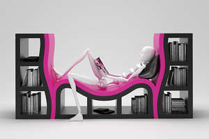 Sculptural Bookshelf with Bench and Matching Pieces