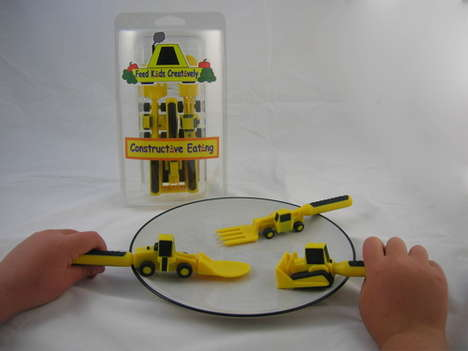 Construction Site Utensils - 'Constructive Eating' Kit Includes Bulldozer, Forklift and Front Loader