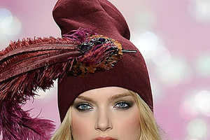 Anna Sui Jazzes up Knit Caps with Feathers & Beads