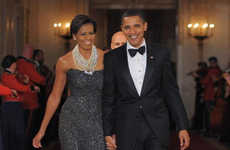 First Lady Fashion - Michelle Obama Dazzles in Peter Soronen At Governor's Dinner