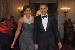 Michelle Obama Dazzles in Peter Soronen At Governor's Dinner
