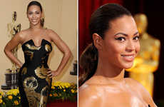 Dramatic Sculptural Gowns - Beyonce Turns Statuette in Black and Gold Awards Dress