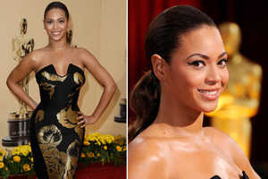 Beyonce Turns Statuette in Black and Gold Awards Dress