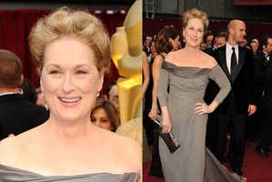Meryl Streep Glittered in Grey Alberta Ferretti Dress at 2009 Oscars