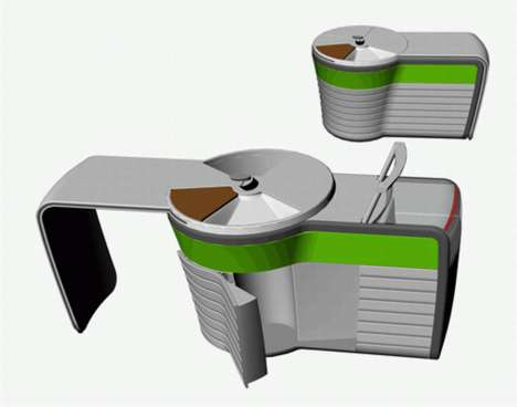 Portable Kitchens - Dzmitry Samal's 'Kitchen for Singles' Rotates for Prep, Storage and Cooking