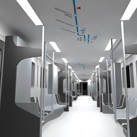 Ceiling-Mounted Subway Maps - GPS System Pinpoints Location on Subway Car Ceilings