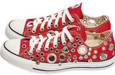 Studded Sneakers - Worn Converse All Star Shoes Glammed Up By Gienchi
