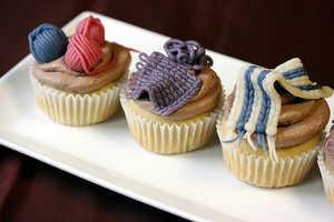DIY 'Knit Nights' Yarn Ball Cupcakes Made With Colorful Marzipan
