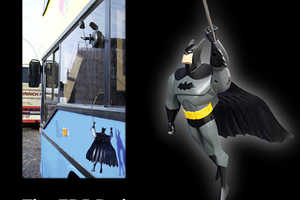 Batman in the Window of Hamburg Buses Moves When in Motion