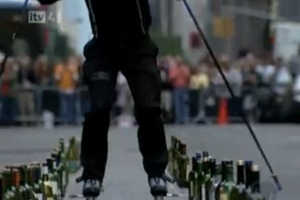 Michel Lauziere Plays Classics on Glass Bottles With Rollerblades