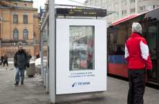 Snowing Billboards - Tryvann Bus Stop Ad Snows When Ski Conditions Are Stellar