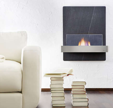 Mounted Stone Fireplaces - The 'Blomus Vidro Wall Fireplace' Burns Green And Healthy