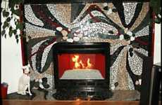 Mosaic Fireplaces - Intricate Designer Fireplaces Starting to Heat Up Interior Design