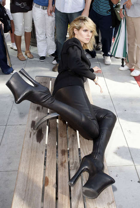 Towering Thigh High Boots - Heidi Klum Dons Killer Footwear for Vogue Photo Shoot