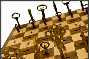 Brass Skeleton Key Chess Set For the Fashionably Competitive