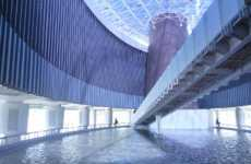 Tidal Wave Architecture - Tsunami Museum is Covered in Water Walls, Filled With History