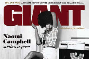 Naomi Campbell Rocks a Mean Afro for Giant