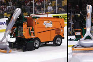 Huge Gillette Razors Smooth Ice on Back of a Zamboni