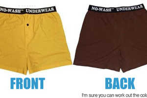 Boxer Shorts Are Yellow in Front, Brown in the Back
