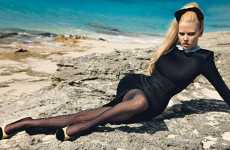 Fashion on the Rocks - Lara Stone Channels Brigitte Bardot at Beach in W Magazine