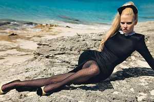 Lara Stone Channels Brigitte Bardot at Beach in W Magazine