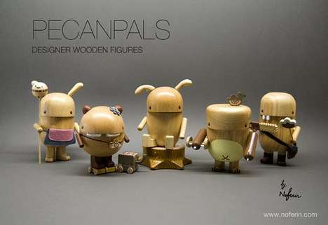 Sustainable Wood Toys - Kooky Collectible Pecanpals Made from Rubber Trees