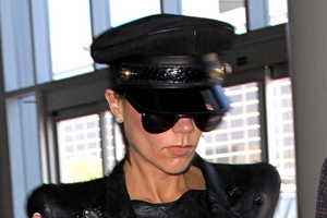 Victoria Beckham Flies in Black Balmain Mes Coco Jacket